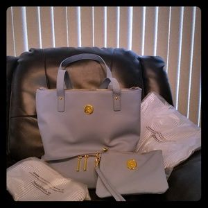 Joy Mangano Leather tote with extra accessories